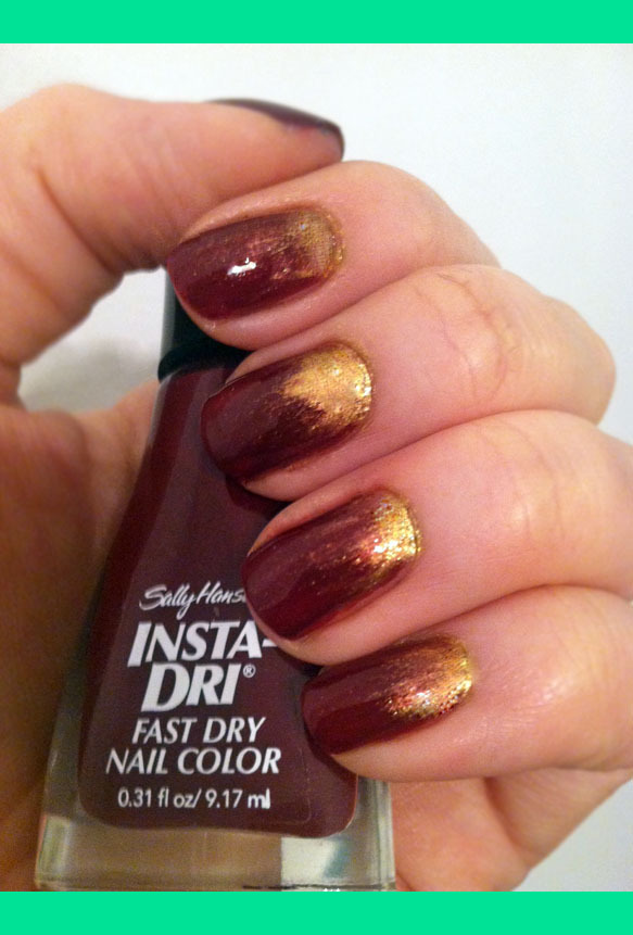 cozy-fireplace-nails-oxblood-gold-reverse-ombre-manicure